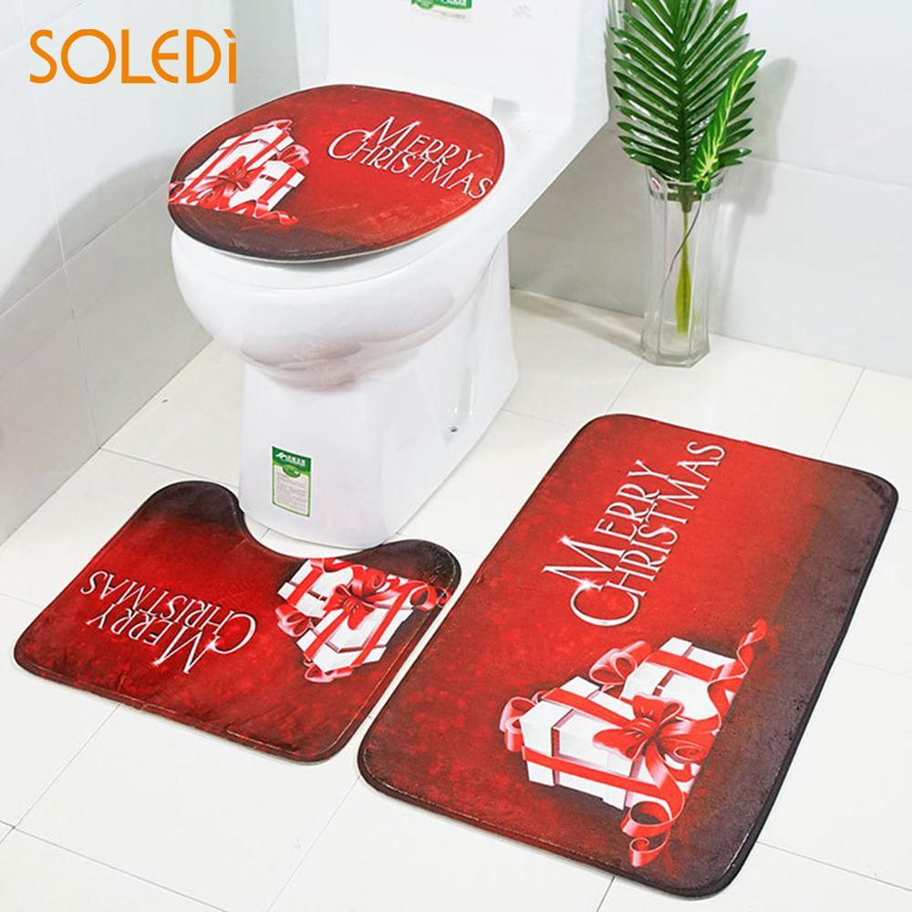 Toilet Seat Cover Christmas Decoration Flannel Toilet Seat Cushion Santa Claus Bidet Creative Bathroom Mat Set 3pcsSet