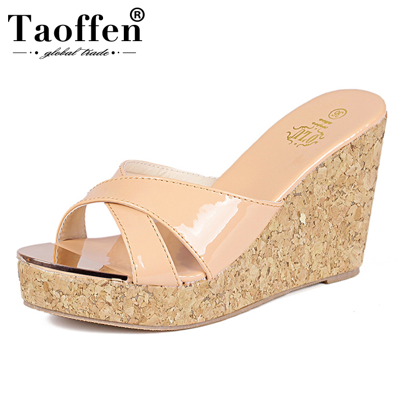 TAOFFEN 2019 New Summer <font><b>Women</b></font> Sandals <font><b>High</b></font> Wedge <font><b>Heels</b></font> Platform <font><b>Shoes</b></font> <font><b>Sex</b></font> Peep Toe <font><b>Slippers</b></font> <font><b>Shoes</b></font> Ladies Footwear Size 34-39 image