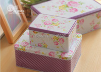 Free Shipping!2014New Flower design Jumbo Metal Tin Case Sweety Cake Box Cookie box 3pcs Storage container Rectangle Gift Box
