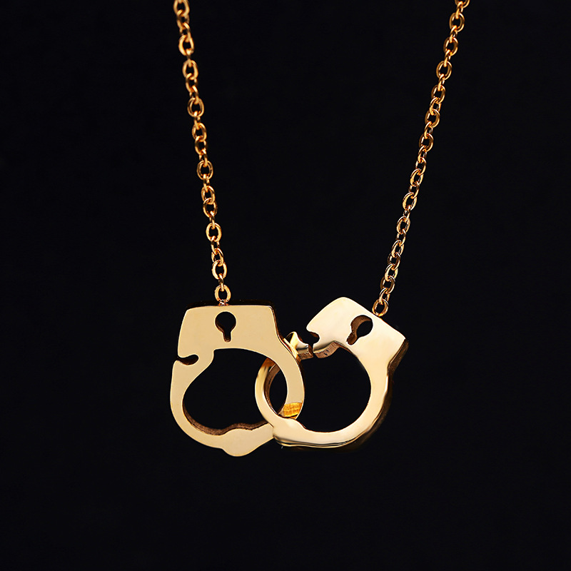 Handcuff Necklace Gold: Titanium Stainless Handcuff Pendant Necklace Gold Dipped