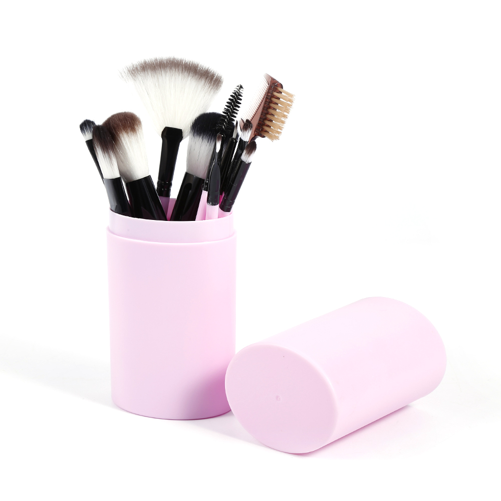 12PCS Nylon Hair Makeup Brushes Set Cosmetic Brushes Tool Set+Leather Cup Holder Foundation Contour Blush Eyeshadoe Brushes Kit dental kerr finishing polishing assorted kit occlubrush cup brushes