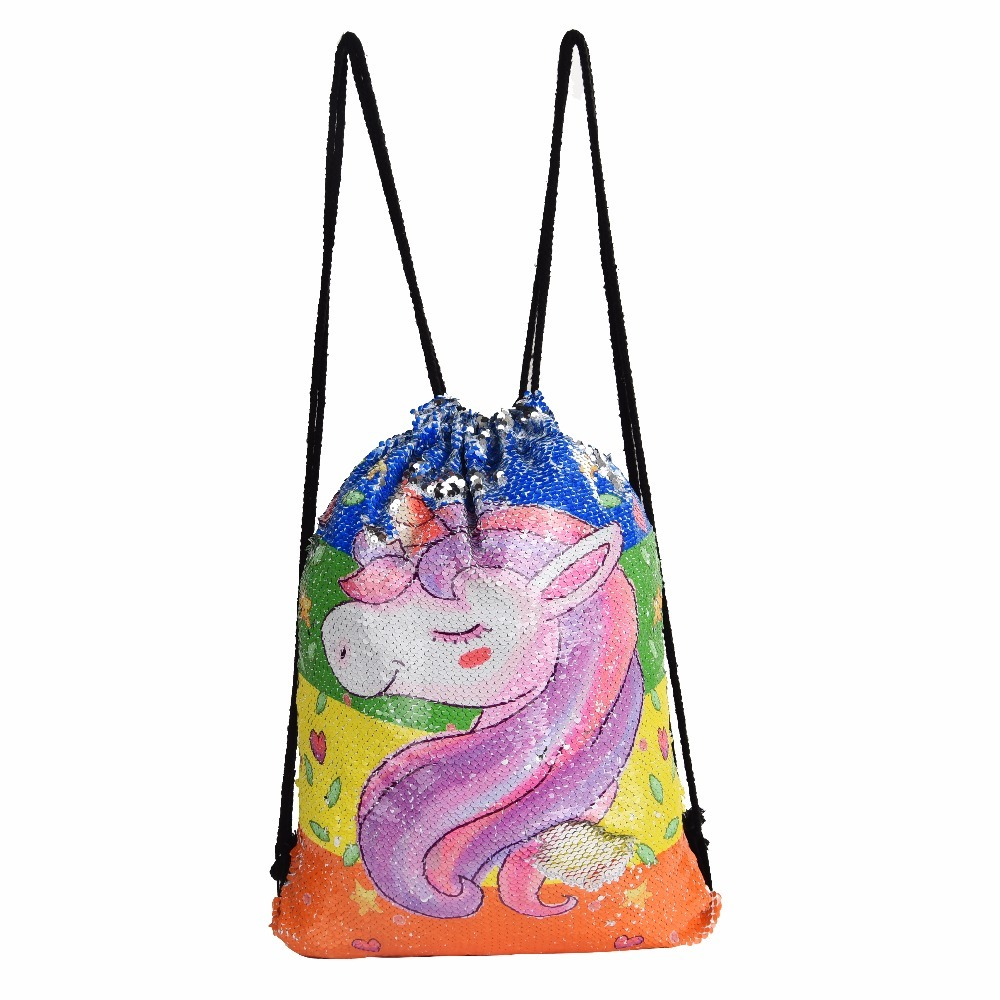 123456789 Store Unicorn Sequin Backpack Drawstring Bag for Girl School Bag Kids Mermaid Horse Draw String Bags