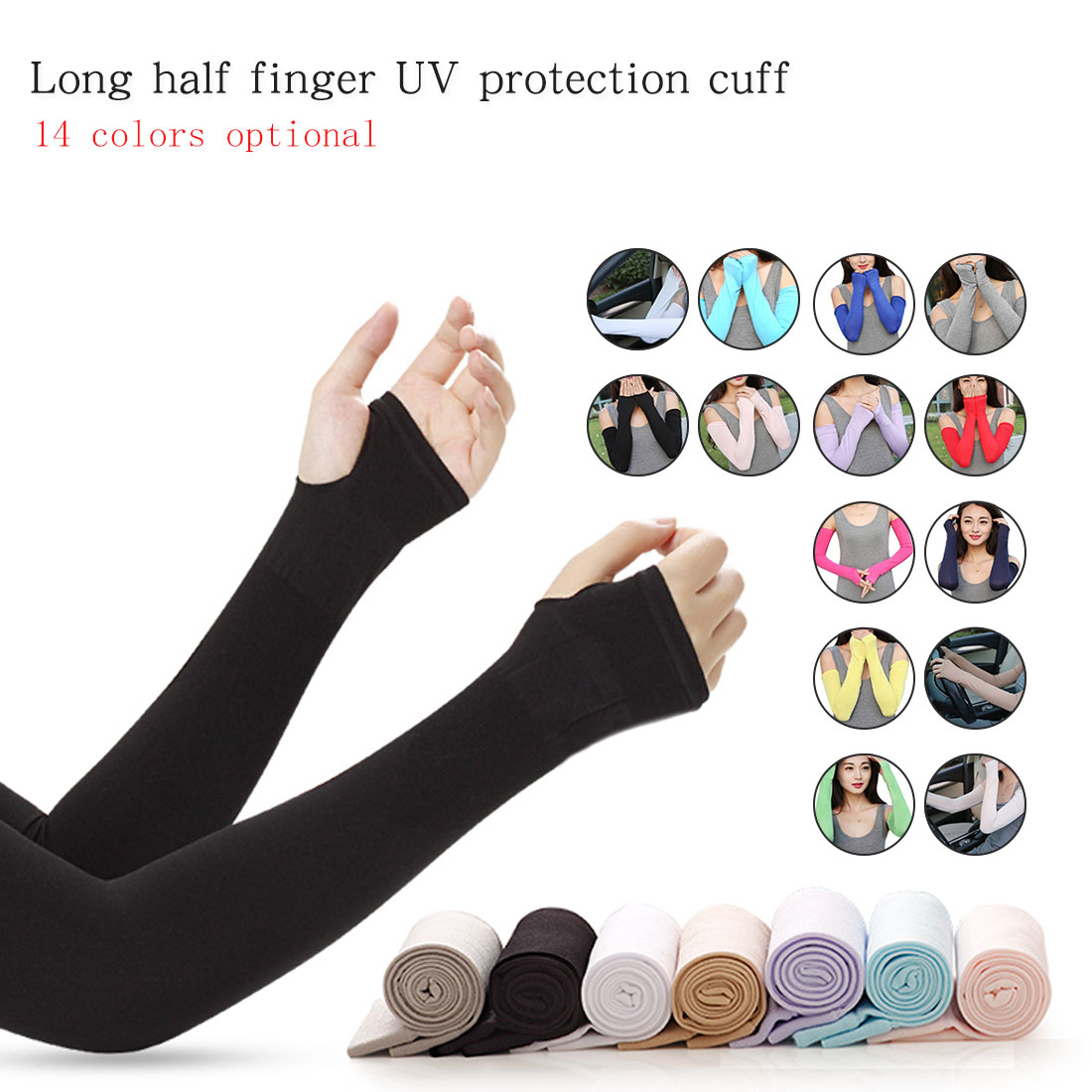 New Protector Cover Arm Sleeves Ice Silk Sunscreen Sleeves Outdoor Arm Warmer Half Finger Sleeves Long Gloves Sun UV Protection