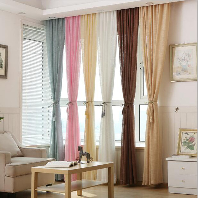 Pink Color Tulle Grey Curtains Blinds Yellow Wedding Draping Fabric Kitchen Short Red For Living Room WP342B