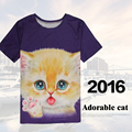 summer style 3d t shirt printed cats Cute face men's new T-shirt wholesale animal adorable cat 3D printed short Tees custom