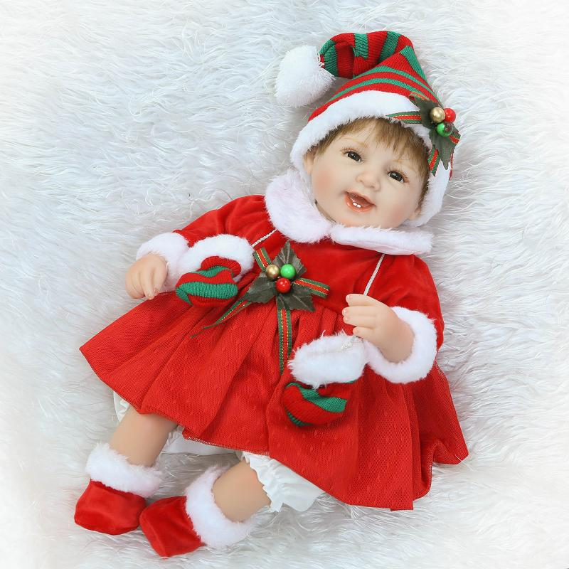 NPK Christmas girl bebe alive doll reborn realistic silicone reborn baby dolls with red christmas dress children gift bonecas new arrival 18inch doll npk american sweet girl with curly long hair in floral skirt dress bonecas bebe kids gift brinquedos