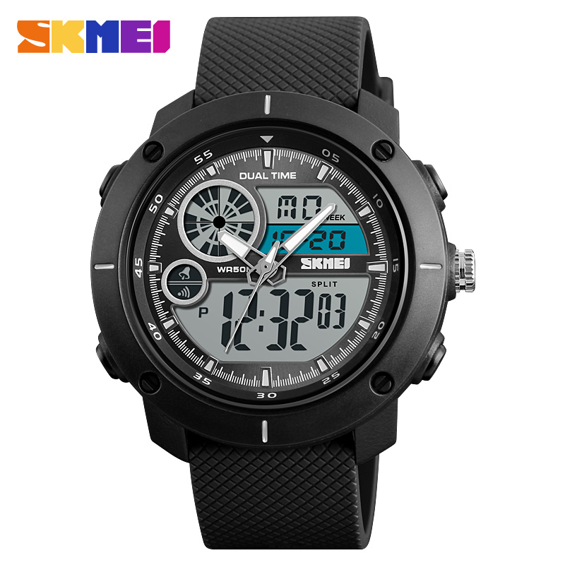 <font><b>SKMEI</b></font> Men Sports Watches Double Time Watch Alarm Date Digital EL Light Wristwatches 50M Waterproof Relogio Masculino saati image