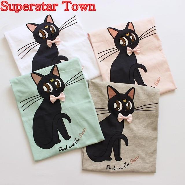 2016 Harajuku Sailor Moon Bowknot Cats Printed Cotton Short Sleeve T-shirt NEW Summer Girls Anime Tops Neko Atsume Shirt