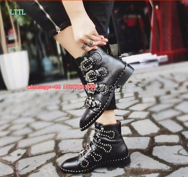 ФОТО Wholesales Fashion Rhinestone Stud Ankle Buckle Black Leather Top Quality Flats Shoes Woman Rome designed motorcycle boots