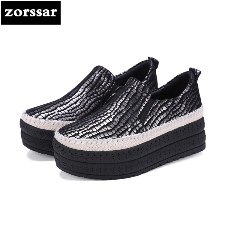 {Zorssar} 2018 women flats shoes platform sneakers shoes Genuine Leather casual shoes slip on flat Loafers women Creepers shoes platform shoes woman flat shoes women flats slip on leather loafers creepers breathable casual shoes plus size 5 10