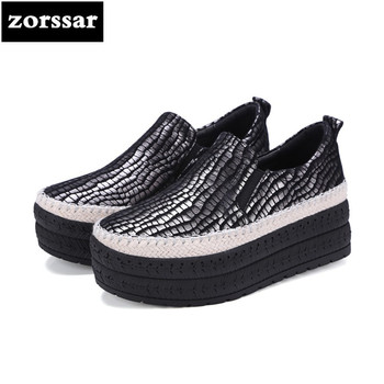 {Zorssar} 2018 women flats shoes platform sneakers shoes Genuine Leather casual shoes slip on flat Loafers women Creepers shoes
