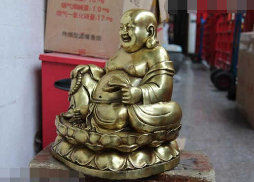 Китайский буддистский храм Медь бронзовая позолота счастливый Майтрейя Рохан статуя монаха, Будды