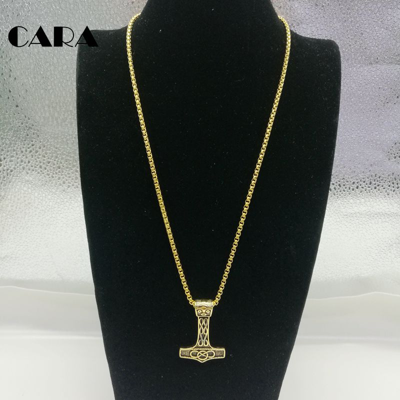 New arrival retro decorative axe pendant necklace Vintage gold 316L stainless steel amulet necklace pendant men CARA0265 in Pendant Necklaces from Jewelry Accessories