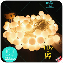 EU 220v / US 110v 10m 100led Ball String Fairy Lights Patio Fairy Garden  Wedding Party