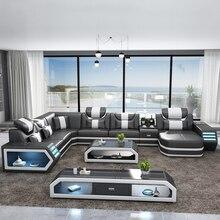 Мебель для гостиной диван наборы роскошный дизайн кожаный диван набор