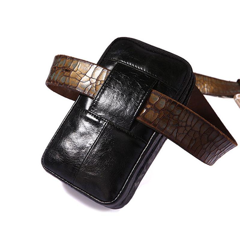 YIANG Classic Leather Belt Pouch Men Äkta Läder Kohhide - Bälten väskor - Foto 4