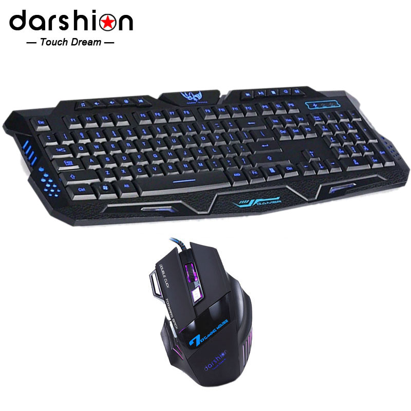 LED English backlit keyboard mouse combo Switch Tricolor +7 Button Colorful Professional Wired Gaming Mouse ...