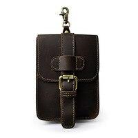 Vintage Genuine Natural Leather Waist Bag Men's Travel Fanny Pack Belt Loops Hip Bum Bag Wallet Purses Mobile Phone Pouch