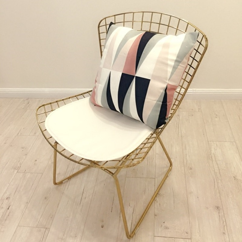Pack Of 2pcs, Classical 1960s Paris Design Outdoor Garden Steel Wire Chair / Cushion Included
