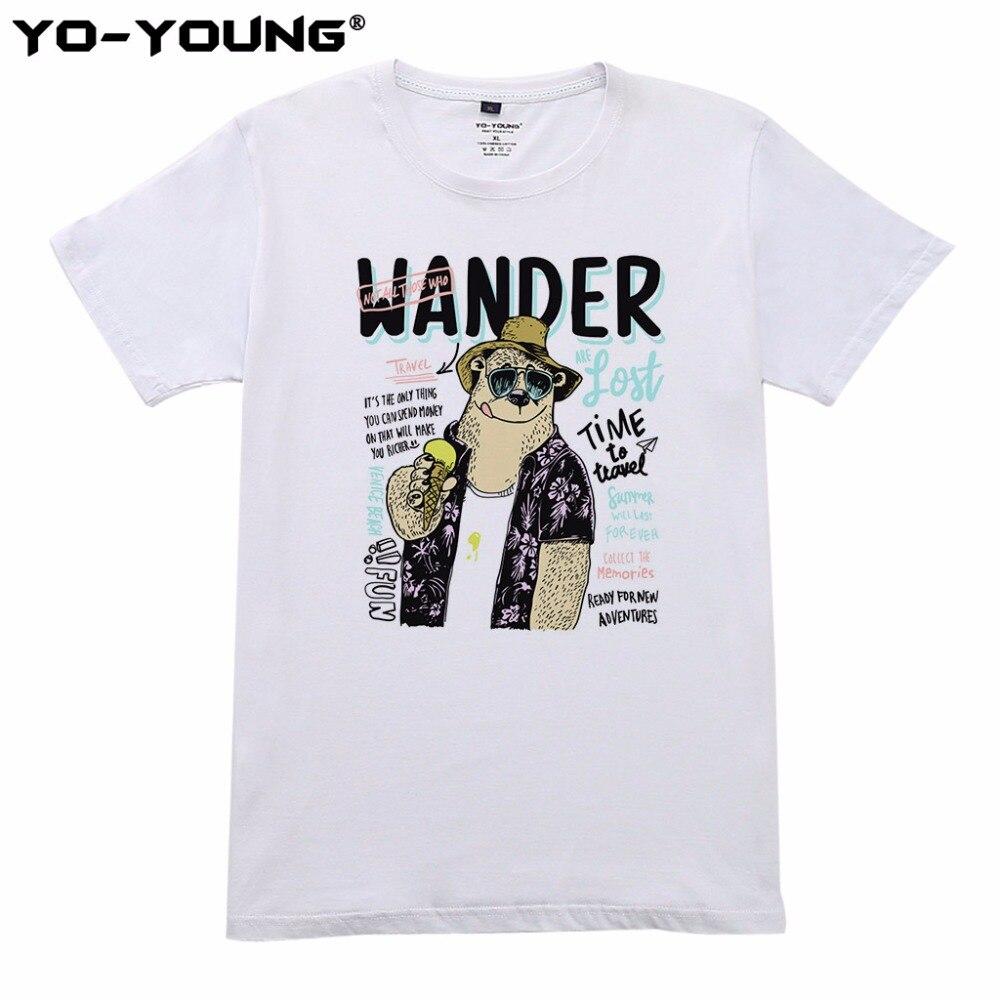 Йо-молодой Для мужчин летние футболки Повседневное время путешествовать Дизайн цифровой печати 100% 180gsm хлопок футболки Homme короткий рукав
