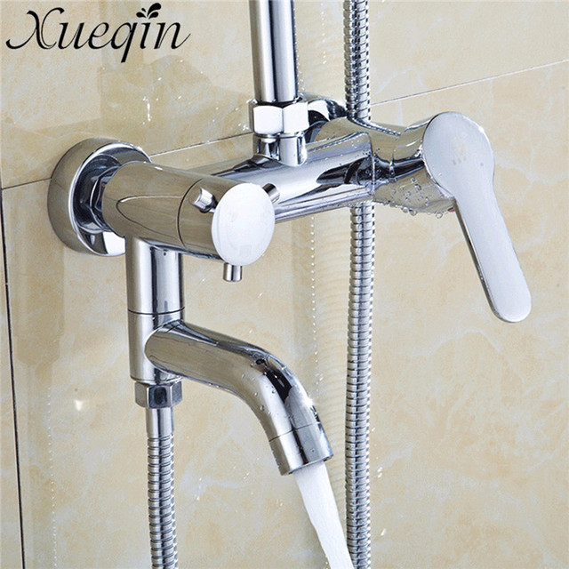Xueqin Wall Mount Hot Cold Shower Faucet Chrome Brass Waterfall