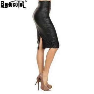 bb5e928b266 Bohocotol 2018 summer women plus size high-waist faux leather pencil Slits  skirt black leather skirt S M L XXXL free shipping
