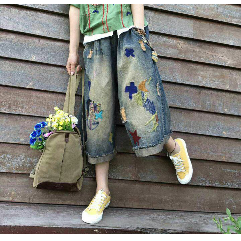 New Women's Fashion Clothing Loose Denim Pants Capris Embroidery Stars Wide Leg Jeans Casual for Summer 10819-1 купить