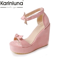 KarinLuna 2018 Big Size 34 43 Wedges High Heels Sweet Bow Women Shoes Summer Sandals Platform Comfort Date Woman Shoes