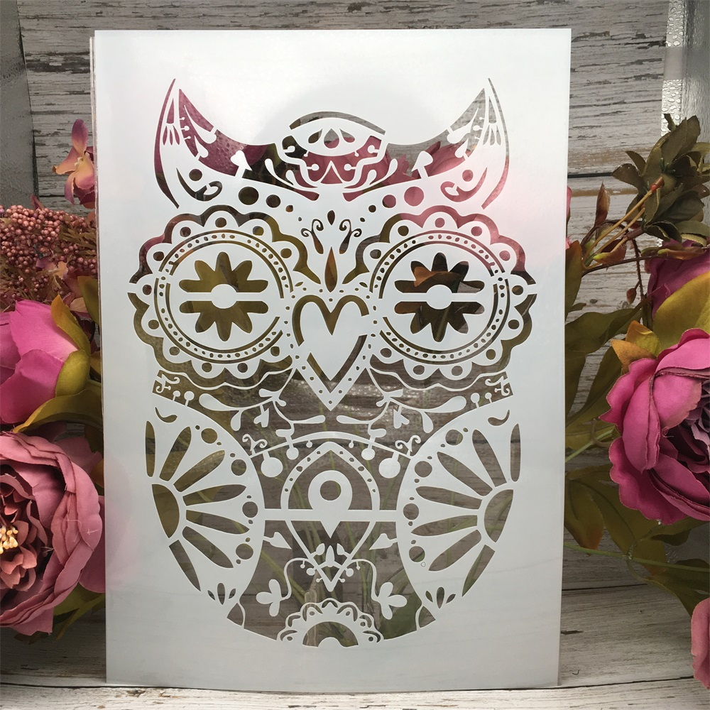 A4 29cm Vintage Owl DIY Layering Stencils Wall Painting Scrapbook Coloring Embossing Album Decorative Paper Card Template