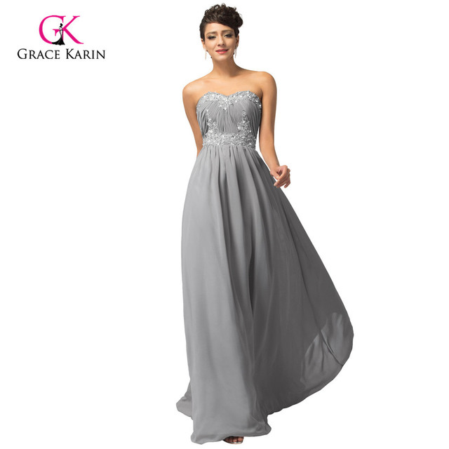Grey Floor Length Dress
