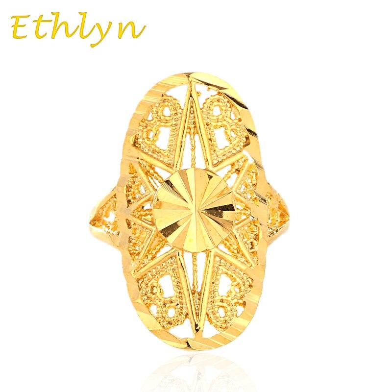 Ethlyn Dubai golden ring Gold Color Engagement Adjustable size ...