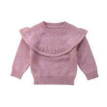 Осенне-зимний свитер для новорожденных девочек, розовый вязаный джемпер с длинными рукавами и оборками, верхняя одежда