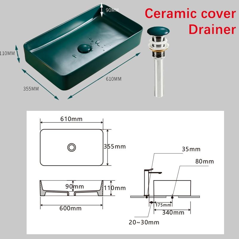 Bathroom Sinks Art Ceramic Vessel Hand Made Luxury Modern Dark Green Washing Basin Sink With Pop Up Drain Solf HoseSet AM802 - 3