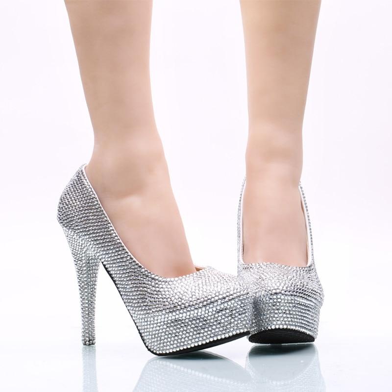 ФОТО Silver Rhinestone Wedding Shoes Nightclub Party High Heel Shoes Cinderella Prom Pumps Handmade High Quanlity Women Dress Shoes
