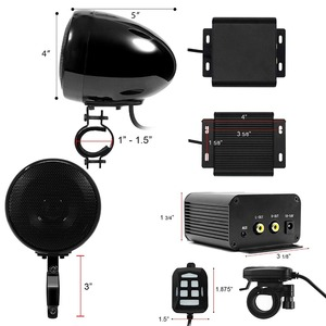 Image 4 - Комплект звукового сигнала для мотоцикла Aileap, 150 Вт, стереоусилитель 2 канала, водонепроницаемые колонки 4 дюйма, Bluetooth, FM радио, AUX MP3 (черный)