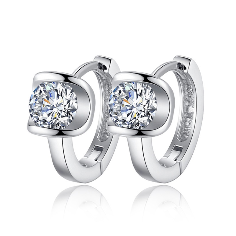 2016 High Quality Fashion Jewelry silver plated Earring Women Angel Kiss Top Crystal Jewelry Stud Earrings Best Friends Gift