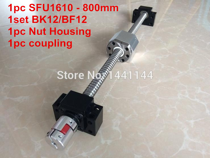 1610 ballscrew  set : SFU1610 -  800mm Ball screw -C7 + 1610 Nut Housing + BK/BF12  Support  + 6.35*10mm coupler