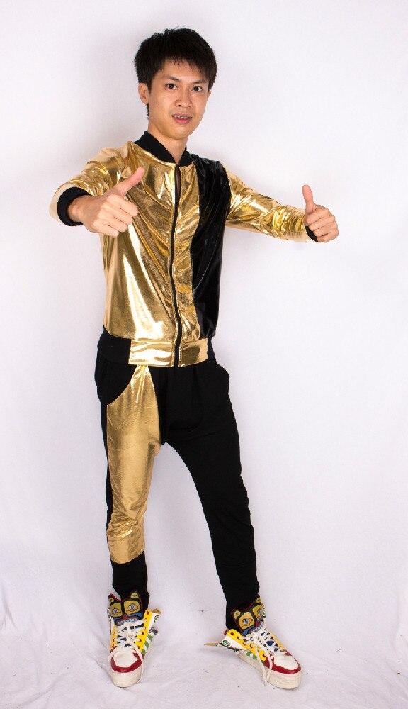 US $18.36 8% OFF|Casual Frauen Herren Hip Hop Harem Dünnen Hosen Schlanke Bühne Tragen Gold Paillette Patchwork Baumwolle Qualität Hosen in Hosen &