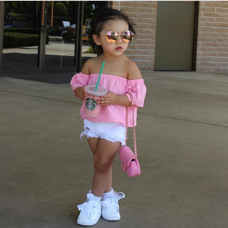 Us 2 58 20 Off Fashion Pink Girl Shirt Off Shoulder Kids Top Cotton Solid Color European Style Slash Neck Children Shirt Girls Clothing In Blouses