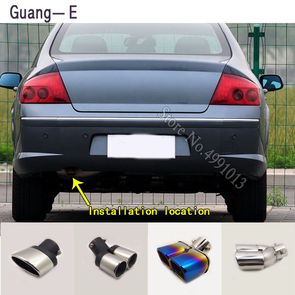 For Peugeot 407 2008-2018 car stickers body cover muffler exterior back end pipe dedicate exhaust tip tail outlet ornament 1pcs