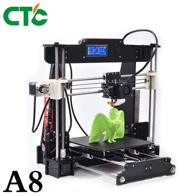 CTC A8 3D-принтеры DIY Высокая точность Desktop Prusa i3 DIY Kit ЖК-дисплей Экран принтер самостоятельной сборки Поддержка