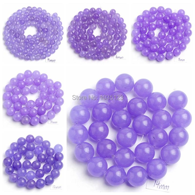 Free Shipping 4,6,8,10,12,14mm Light Purple Jades Round Shape Gems Loose Beads Strand 15 DIY Creative Jewellery Making wj40