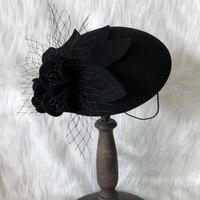 Women Winter Pillbox Hat Australian Wool Veil Fedora Black Feather Beret Cap Wedding Cocktail Party Ladies Church Wool Headwear