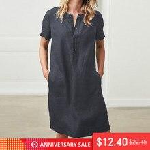 7585ed65808 Robe d été grande taille Robe de lin Pour Les Femmes 2019 Celmia Chemise  Robe Caftan courtes manches Robes Bain de Soleil Robe F..