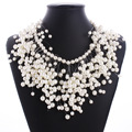 2016 New Fashion Beads Multi Layer Necklace Big Maxi Chunky Pearl Necklace Choker Tassel Necklace Women Pearl Jewelry