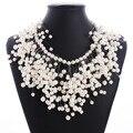 2016 Nueva Moda Perlas Collar de Múltiples Capas Grande Maxi Chunky Collar de Perlas Gargantilla Collar Mujeres Joyería de Perlas Borla