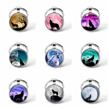 Wolf Moon Pendant Vintage Aggressive Keychain Men Jewelry Glass Cabochon Key Chain Holder Gifts Keyring