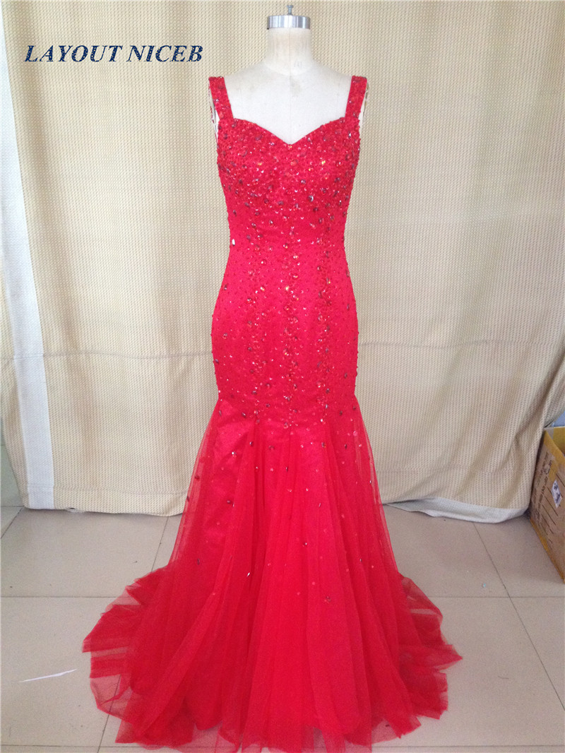 Real Image Red Mermaid Long   Evening     Dress   Gown with Sweep Train Vestido de festa longo Sexy Party   Dress     Dresses