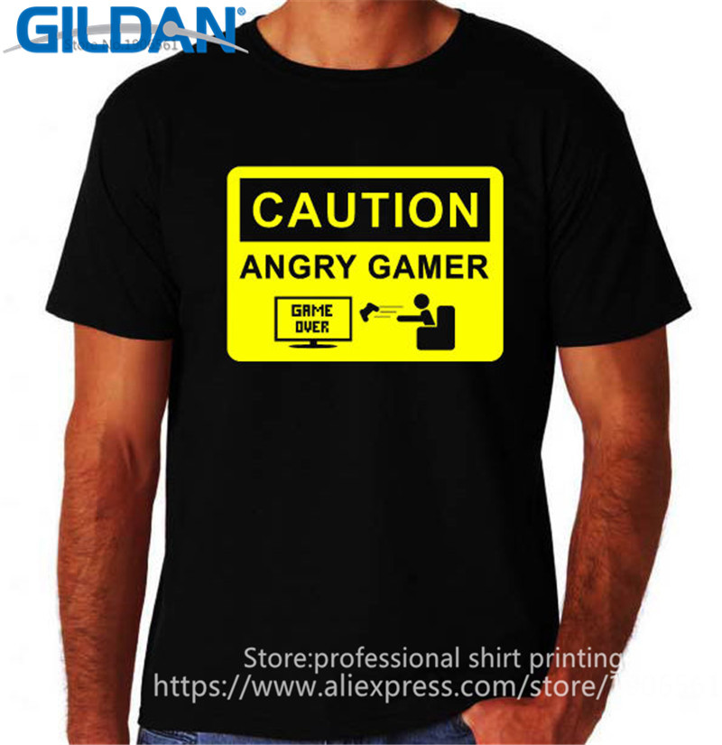 Cheap T Shirts Online Crew Neck Men Cotton Short Sleeve Caution Angry Gamer Video Game Over Computer Shirts