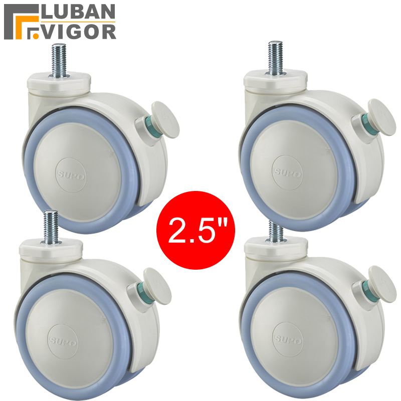 White 2.5 inch ,Medical casters/wheels With brake, M10x20 screw ,Mute Wearable,For Hospital trolley,Industrial casters